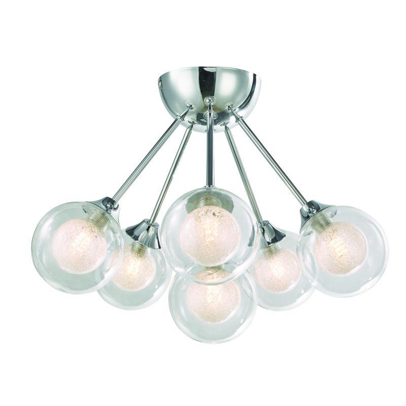 Cork-Lighting-SF16053/6 - Acqua Globe - Chrome with Double Glass 6 Light Semi Flush