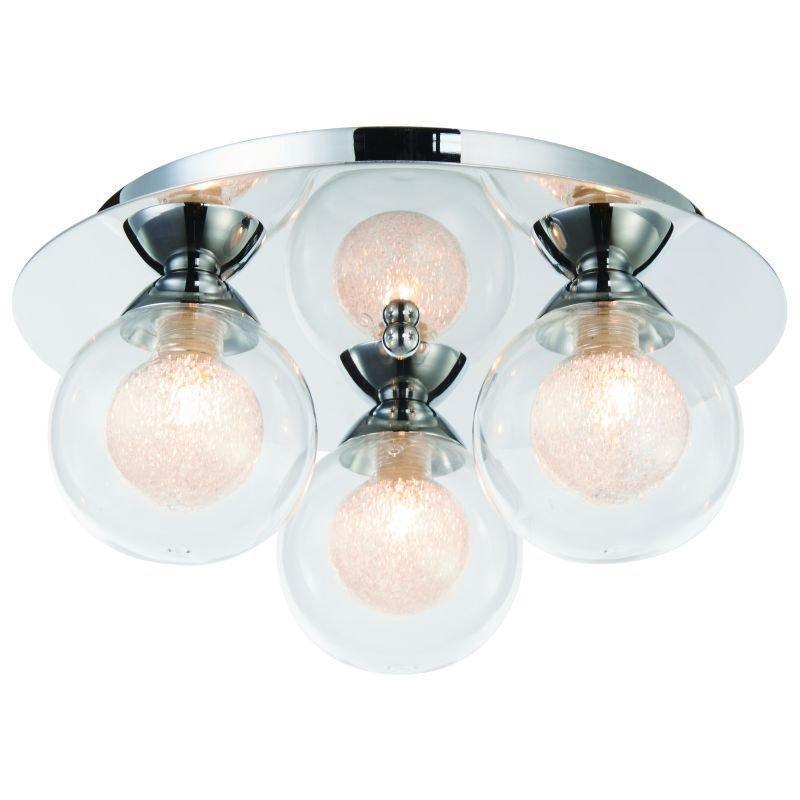Cork-Lighting-SF16053/3 - Acqua Globe - Chrome with Double Glass 3 Light Semi Flush