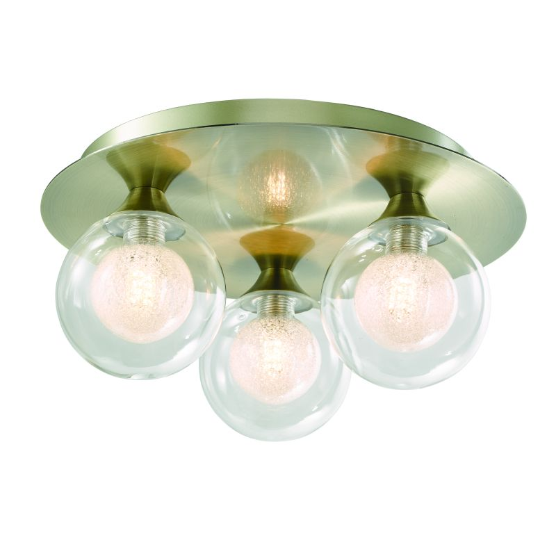 Cork-Lighting-SF16053/3AB - Acqua Globe - Antique Brass with Double Glass 3 Light Semi Flush