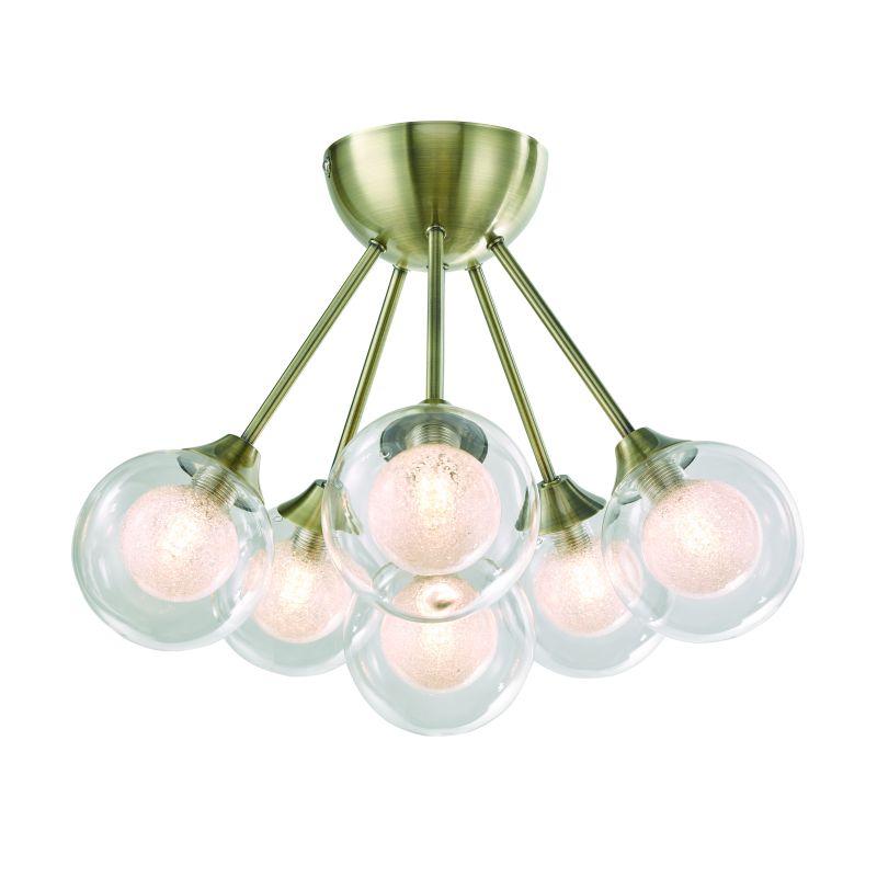 Cork-Lighting-SF16053/6AB - Acqua Globe - Antique Brass with Double Glass 6 Light Semi Flush