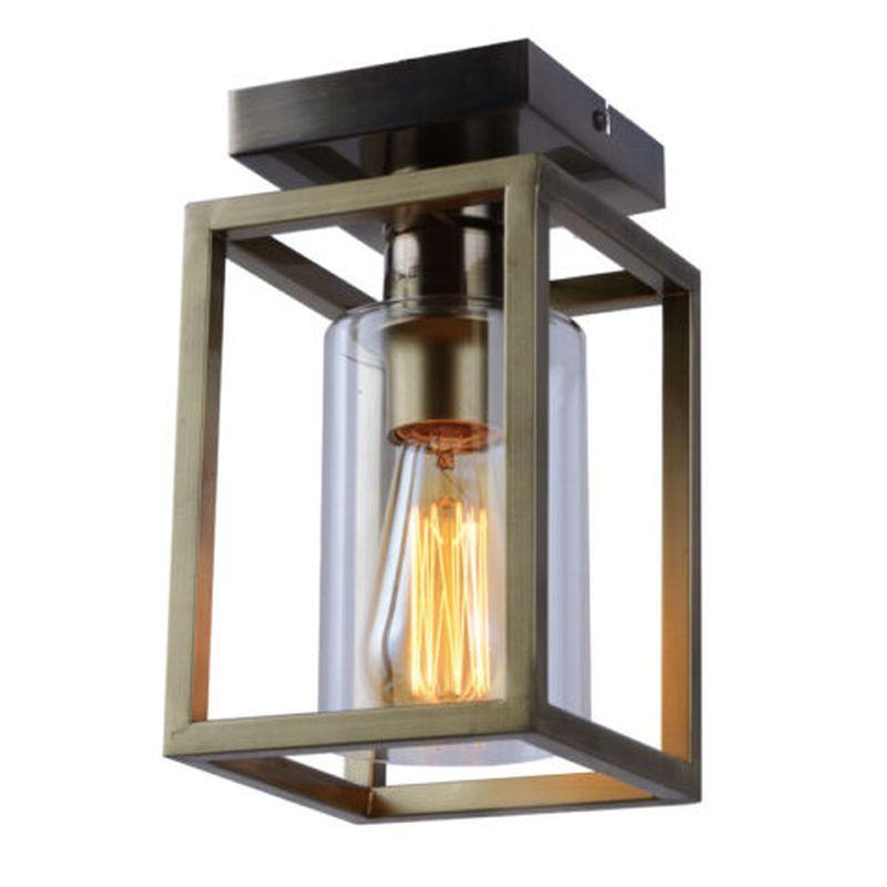 Cork Lighting-SF3366/1AB - Hampton - Antique Brass Lantern Flush