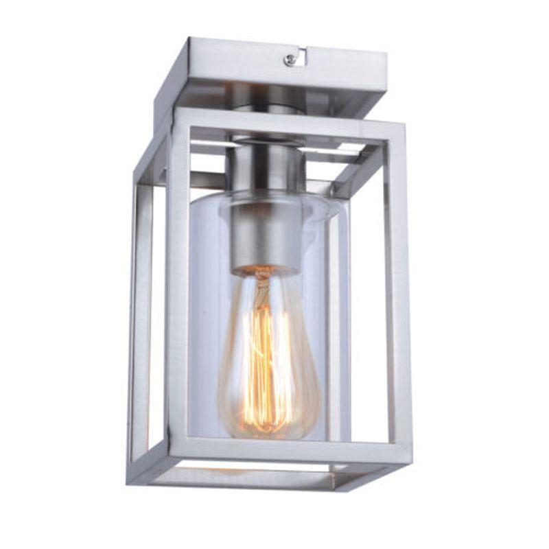 Cork Lighting-SF3366/1SN - Hampton - Satin Nickel Lantern Flush