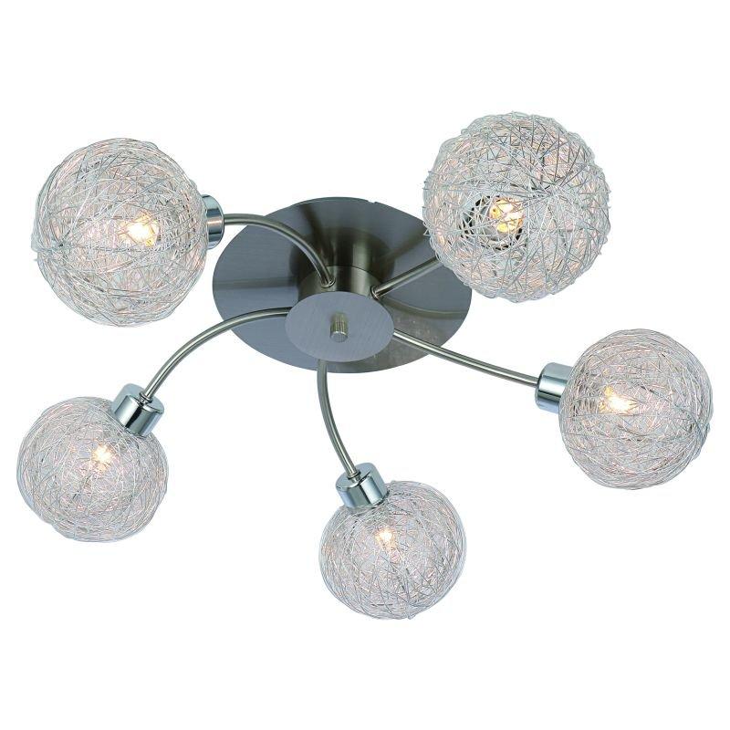 Cork-Lighting-SF4666/5R - Emily - Satin Nickel with Mesh Shades 5 Light Semi Flush