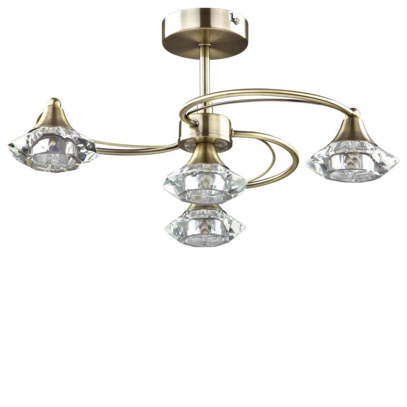 Cork-Lighting-SF6040/4AB - Goslar - Antique Brass with Crystal 4 Light Semi-Flush