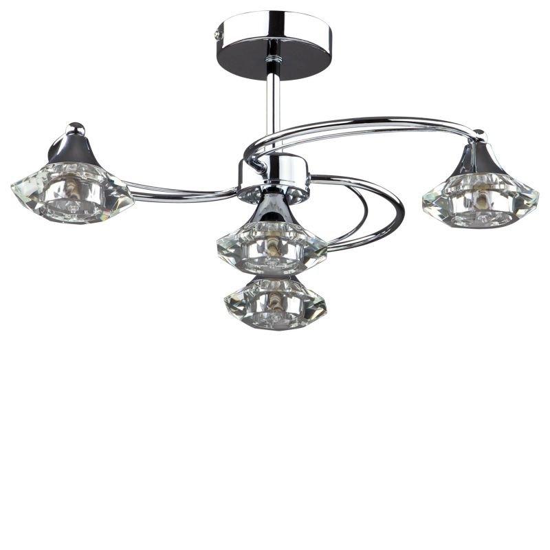 Cork-Lighting-SF6040/4CR - Goslar - Polished Chrome with Crystal 4 Light Semi-Flush