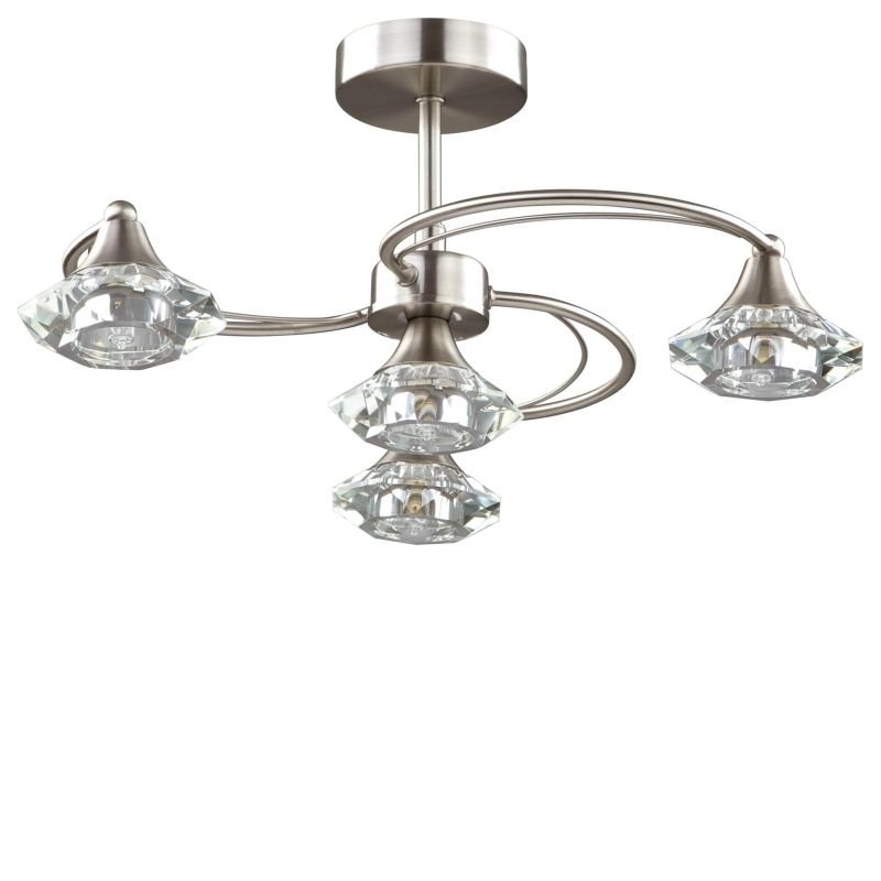 Cork-Lighting-SF6040/4SN - Goslar - Satin Nickel with Crystal 4 Light Semi-Flush