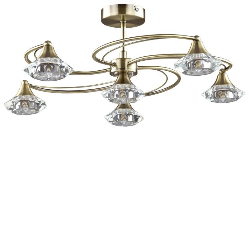 Cork-Lighting-SF6040/6AB - Goslar - Antique Brass with Crystal 6 Light Semi-Flush
