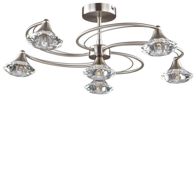 Cork-Lighting-SF6040/6SN - Goslar - Satin Nickel with Crystal 6 Light Semi-Flush