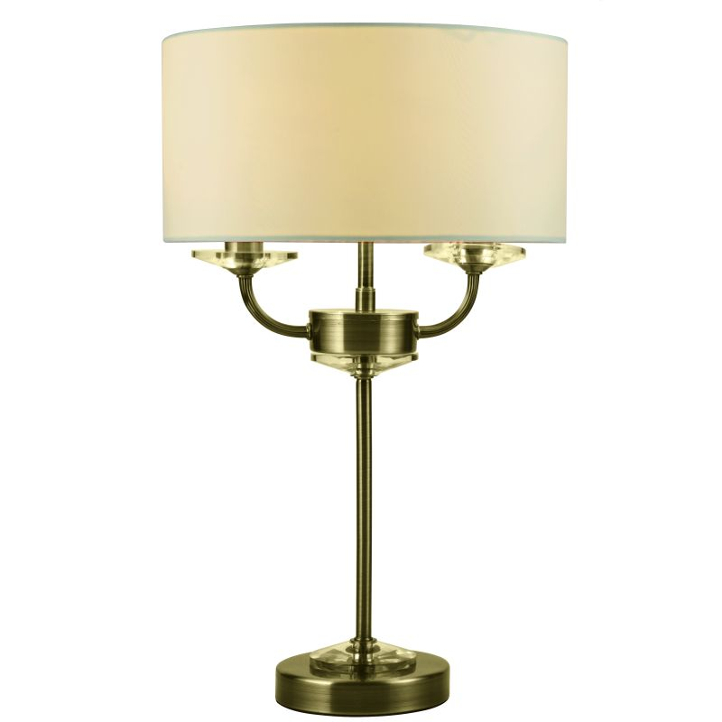 Cork-Lighting-TLSTYLO/2AB - Stylo - Cream & Antique Brass with Crystal 2 Light Table Lamp
