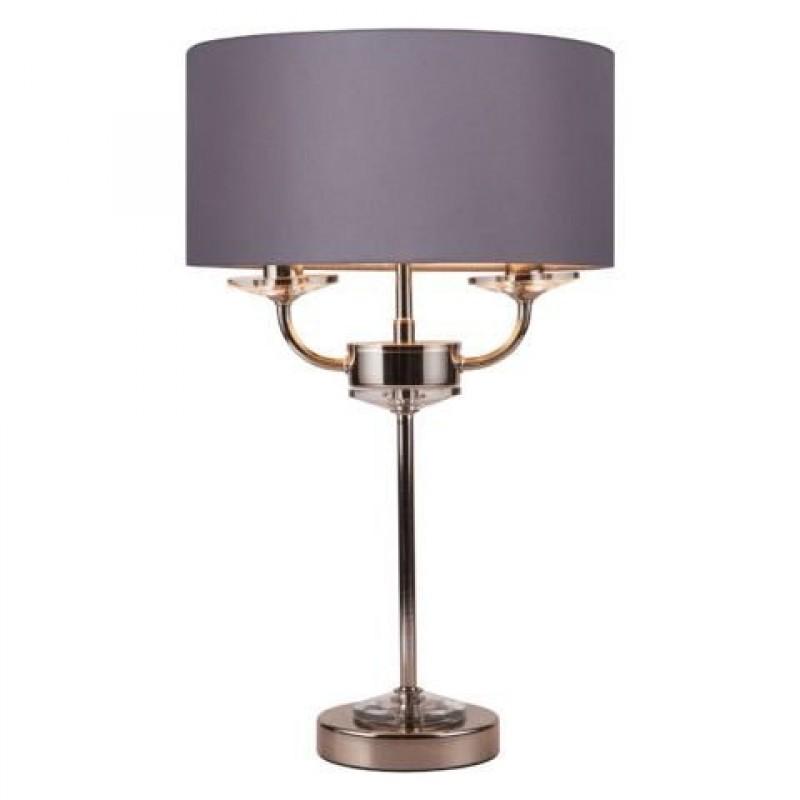 Cork-Lighting-TLSTYLO/2NK - Stylo - Grey Shade & Nickel with Crystal 2 Light Table Lamp