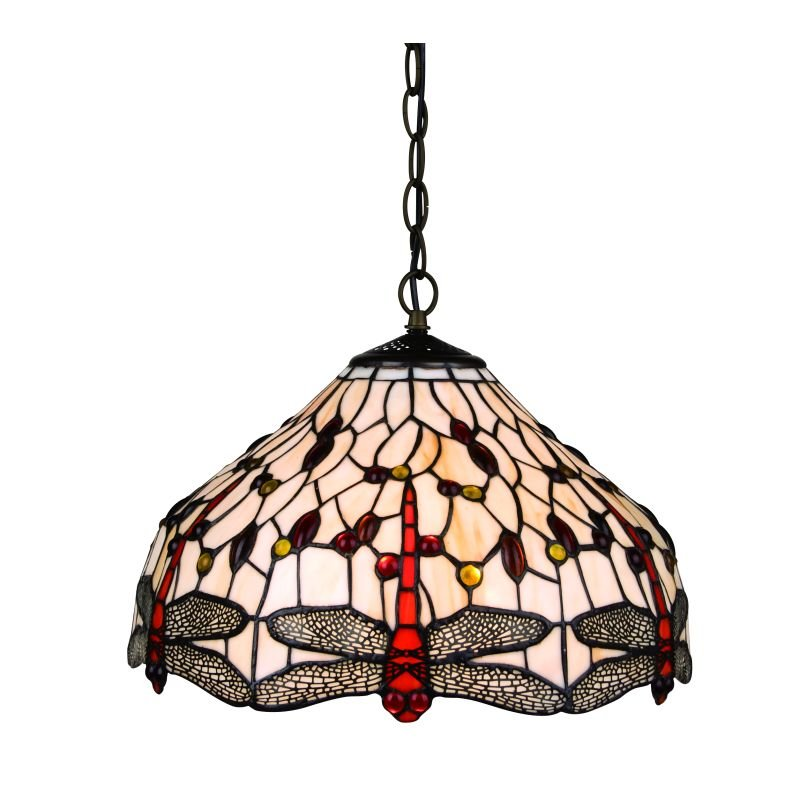 Cork Lighting-TS247/16 - Dragonfly - Tiffany Glass 16