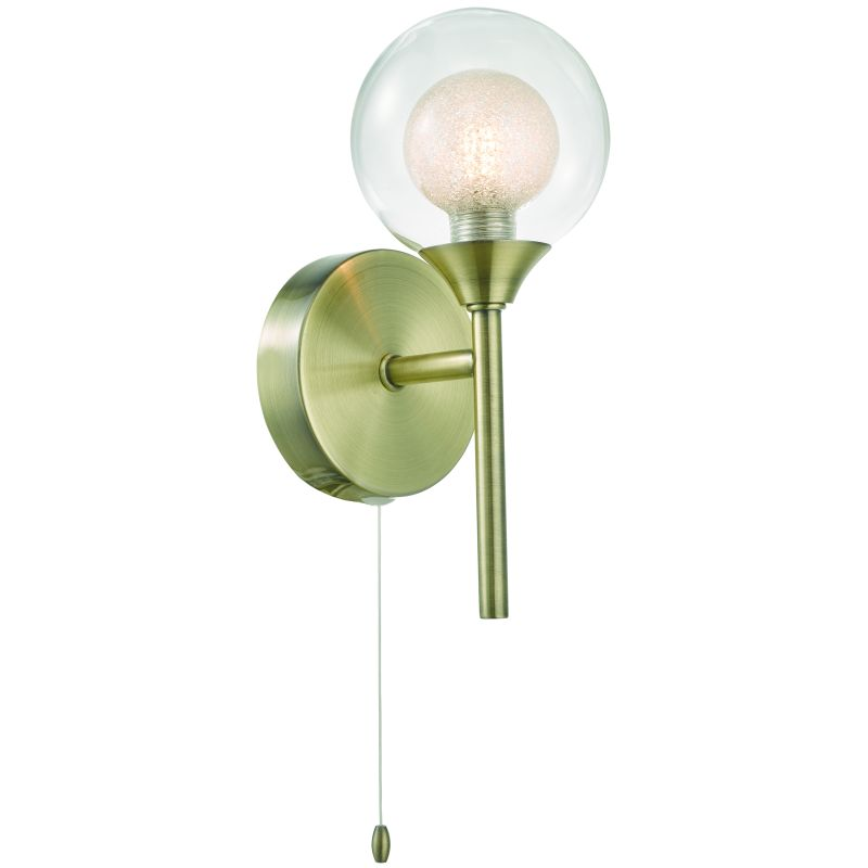 Cork-Lighting-WB16053/1AB - Acqua Globe - Antique Brass with Double Glass Single Wall Lamp