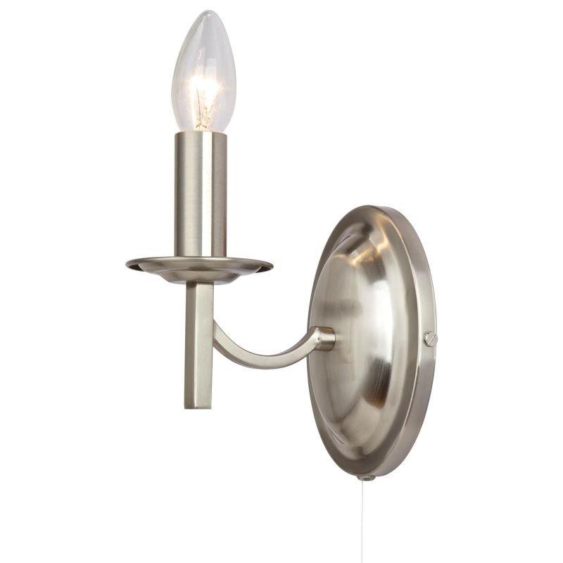 Cork-Lighting-WB2633/1SN - Lugano - Traditional Satin Nickel Wall Lamp