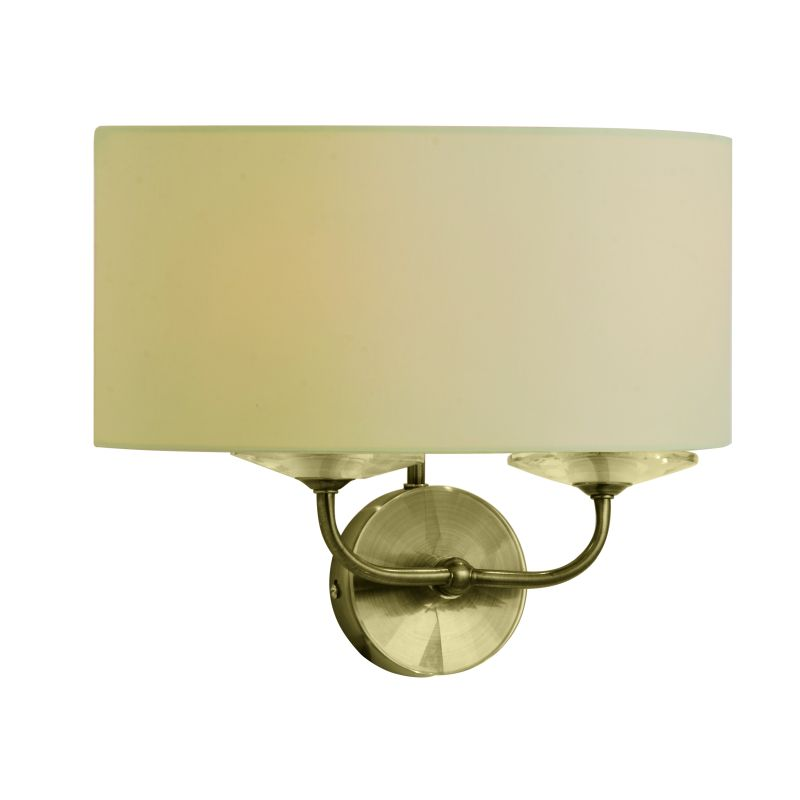 Cork-Lighting-WBSTYLO/2AB - Stylo - Cream & Antique Brass with Crystal Twin Wall Lamp