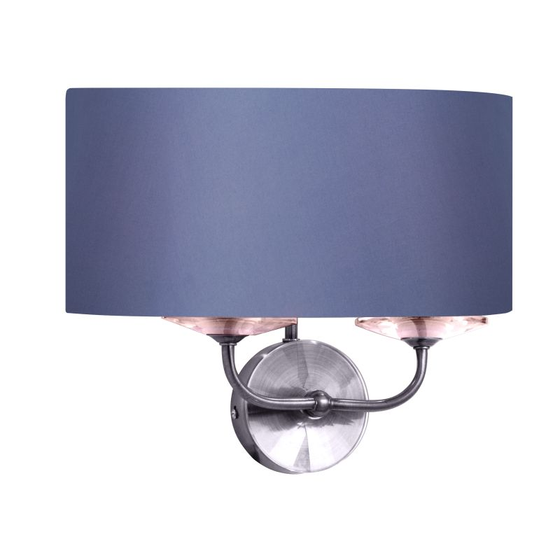 Cork-Lighting-WBSTYLO/2NK - Stylo - Grey Shade & Nickel with Crystal Twin Wall Lamp
