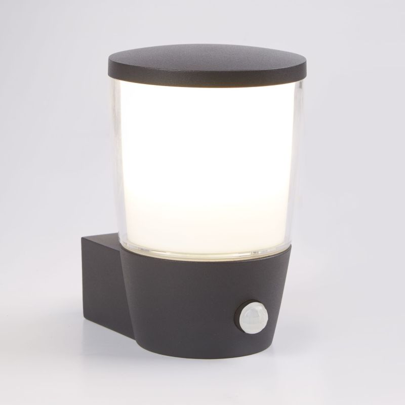 Searchlight-0587GY - Tucson - Outdoor White & Clear with Dark Grey PIR Wall Lamp