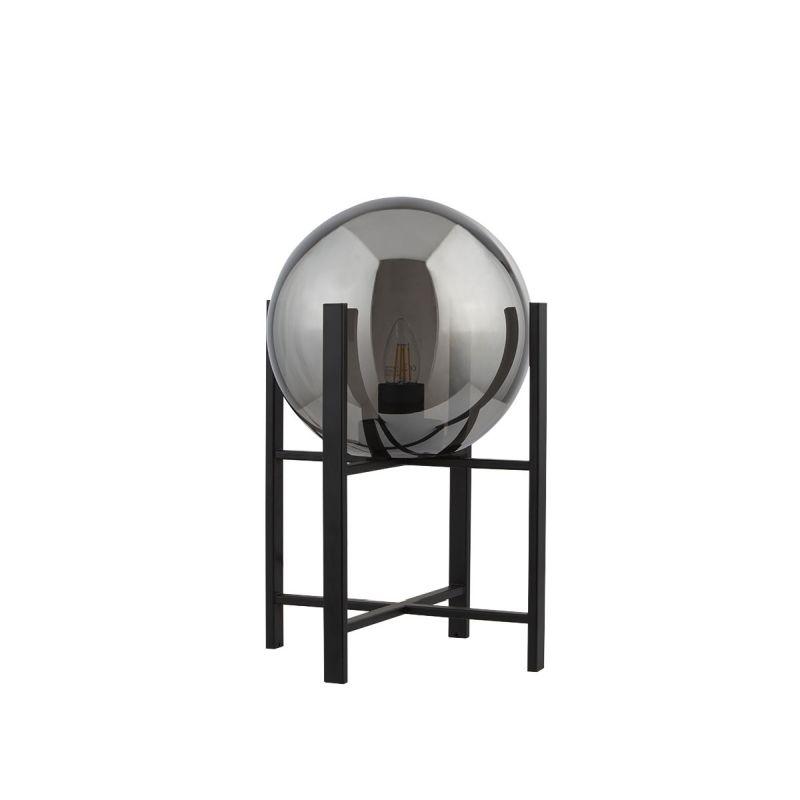 Searchlight-1029-1SM - Amsterdam - Smoky Glass & Black Table Lamp