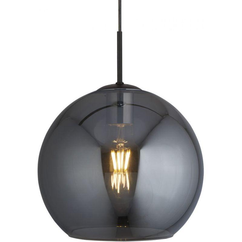 Searchlight-1031-1SM - Amsterdam - Smoky Glass & Black Globe Pendant ∅ 30 cm