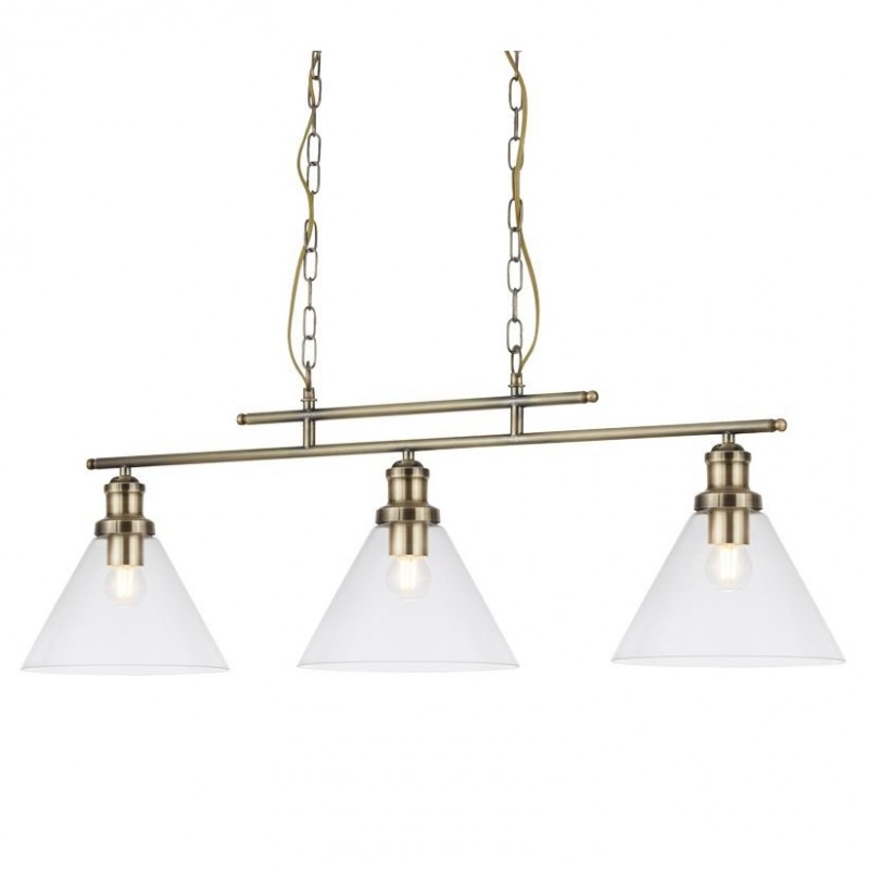 Searchlight-1277-3AB - Pyramid - Clear Glass with Antique Brass 3 Light over Island Fitting