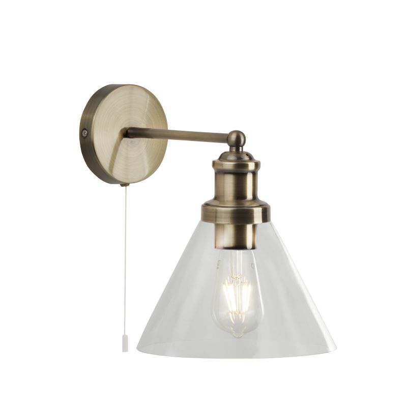Searchlight-1277AB - Pyramid - Clear Glass with Antique Brass Wall Lamp