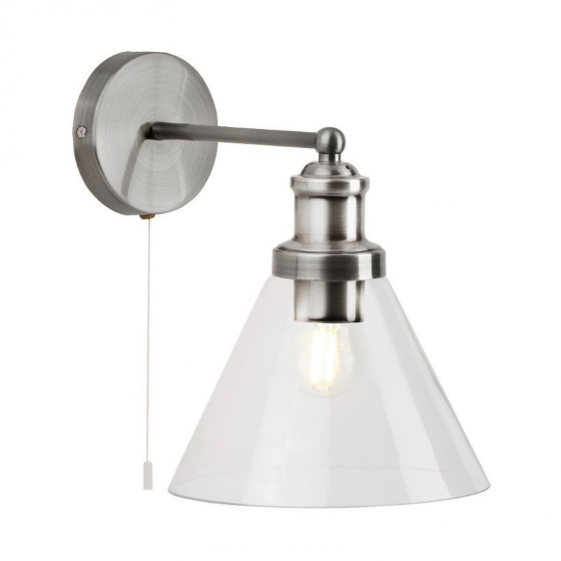 Searchlight-1277SS - Pyramid - Clear Glass with Satin Silver Wall Lamp