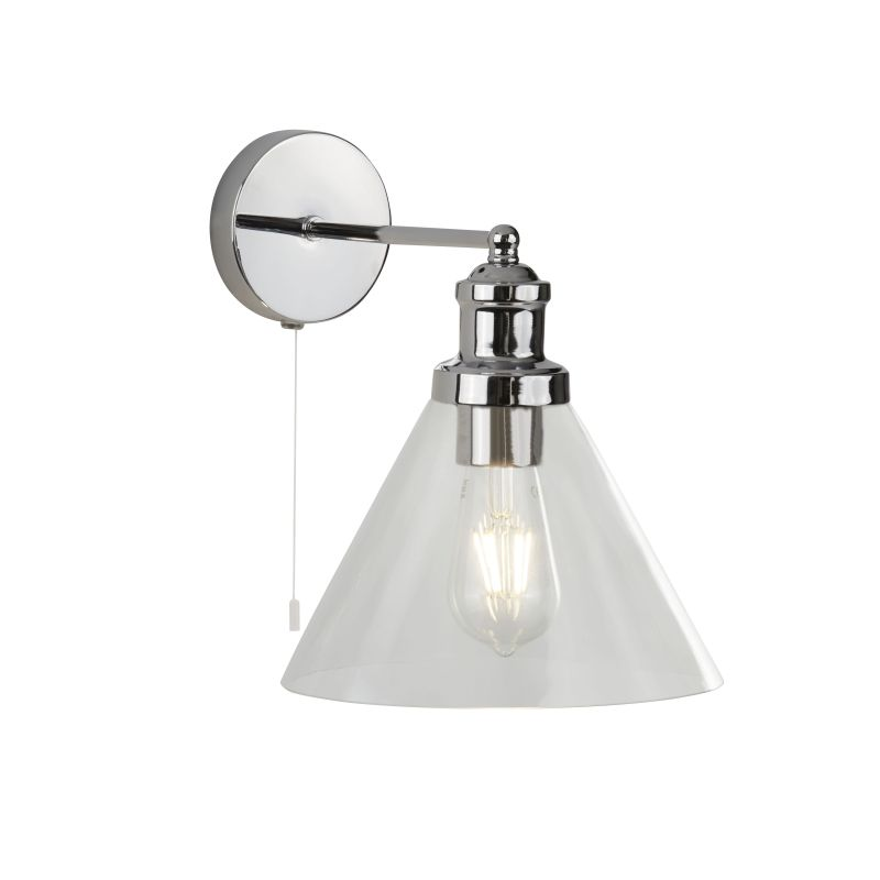 Searchlight-1277CC - Pyramid - Clear Glass with Chrome Wall Lamp
