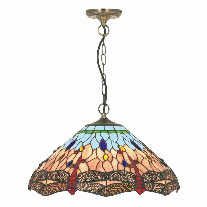 Searchlight-1283-16 - Dragonfly - Tiffany Glass Single Pendant