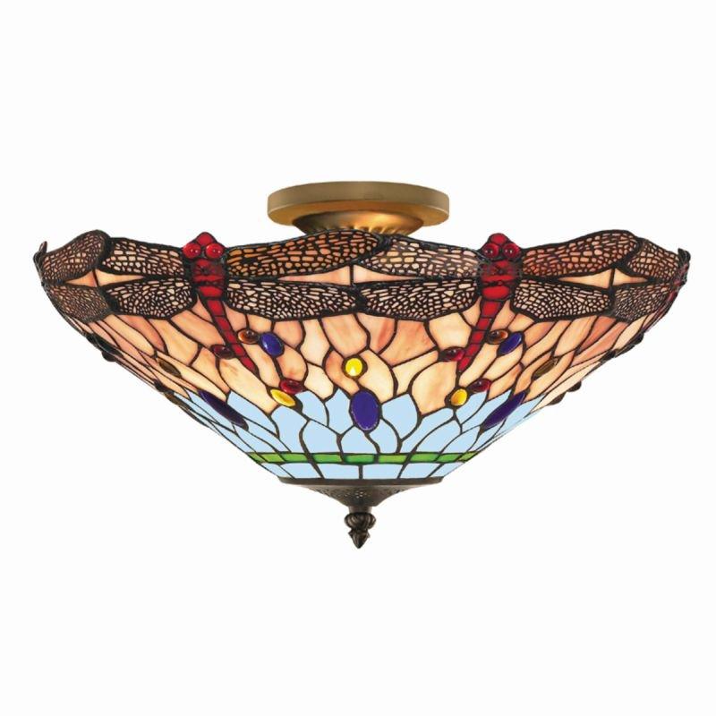 Searchlight-1289-16 - Dragonfly - Tiffany Glass 3 Light Semi-Flush
