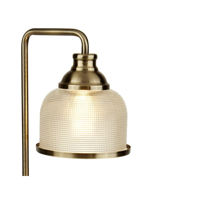 Searchlight-1351-1AB - Bistro II - Textured Clear Glass & Antique Brass Table Lamp