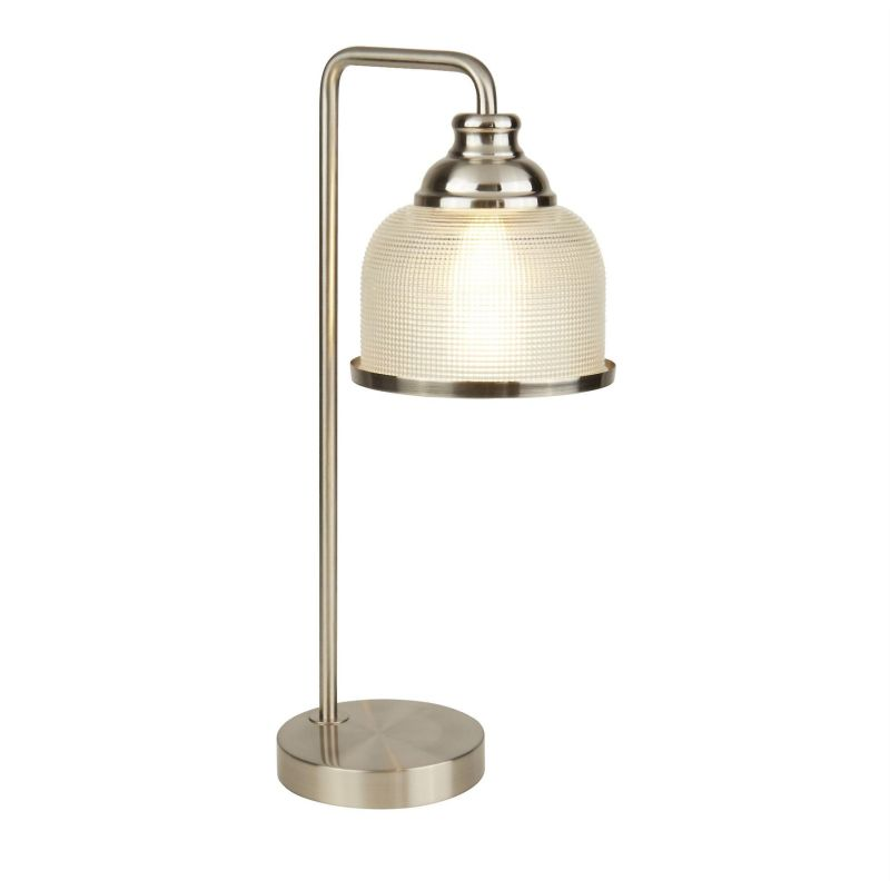 Searchlight-1351-1SS - Bistro II - Textured Clear Glass & Satin Silver Table Lamp