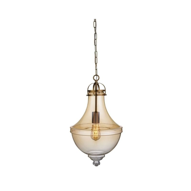 Searchlight-1458AM - Cairo - Amber Glass with Satin Bronze Single Pendant
