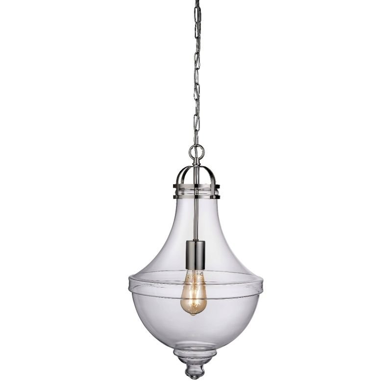 Searchlight-1458CL - Cairo - Clear Glass with Satin Silver Single Pendant