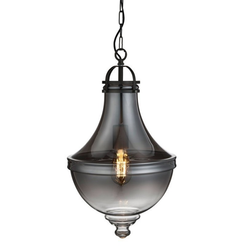 Searchlight-1458SM - Cairo - Smoky Glass with Pewter Single Pendant