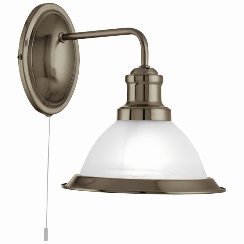 Searchlight-1481AB - Bistro - Alabaster Glass & Antique Brass Wall Lamp
