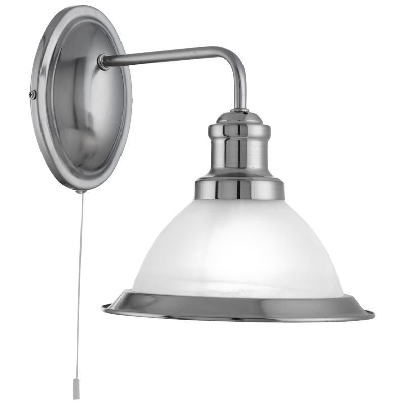 Searchlight-1481SS - Bistro - Alabaster Glass & Satin Silver Wall Lamp
