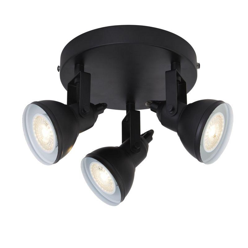 Searchlight-1543BK - Focus - Matt Black 3 Light Round Spotlights