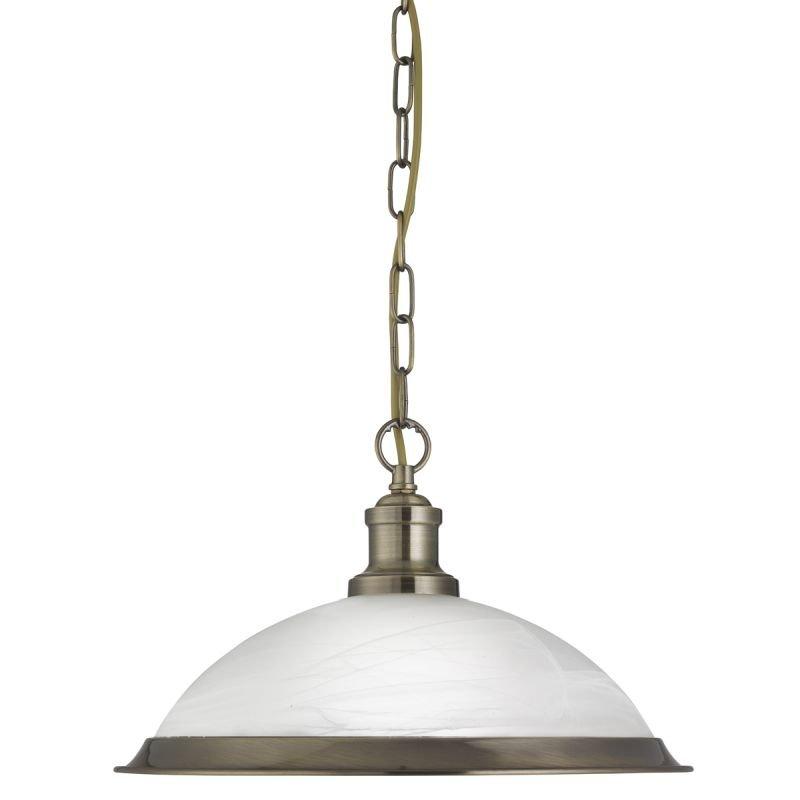 Searchlight-1591AB - Bistro - Alabaster Glass & Antique Brass Pendant