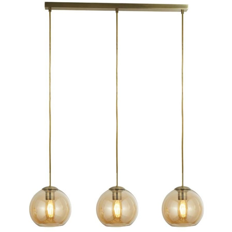 Searchlight-1623-3AM - Balls - Amber Glass with Antique Brass 3 Light over Island Fitting