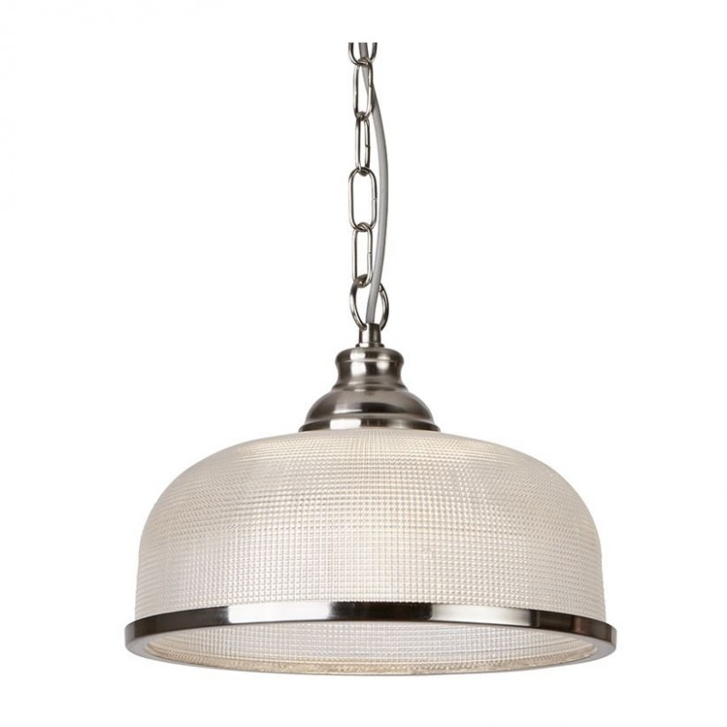 Searchlight-1682SS - Bistro II - Textured Clear Glass & Satin Silver Single Pendant