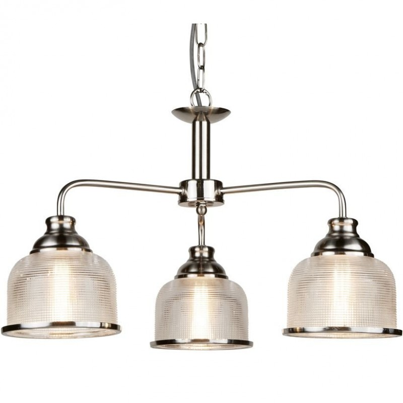 Searchlight-1683-3SS - Bistro II - Textured Clear Glass & Satin Silver 3 Light Centre Fitting
