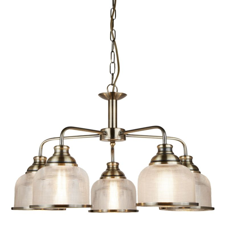 Searchlight-1685-5AB - Bistro II - Textured Clear Glass & Antique Brass 5 Light Centre Fitting