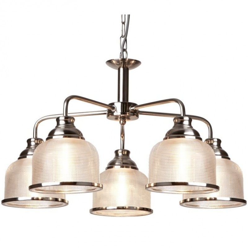 Searchlight-1685-5SS - Bistro II - Textured Clear Glass & Satin Silver 5 Light Centre Fitting
