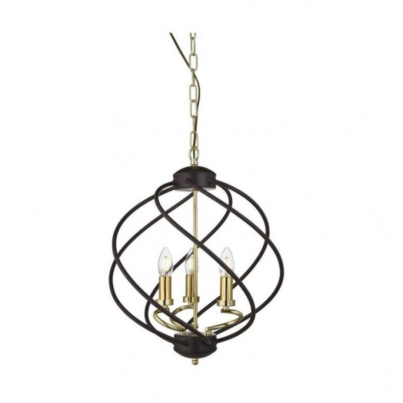 Searchlight-1803-3BK - Flow - Black and Gold 3 Light Centre Fitting