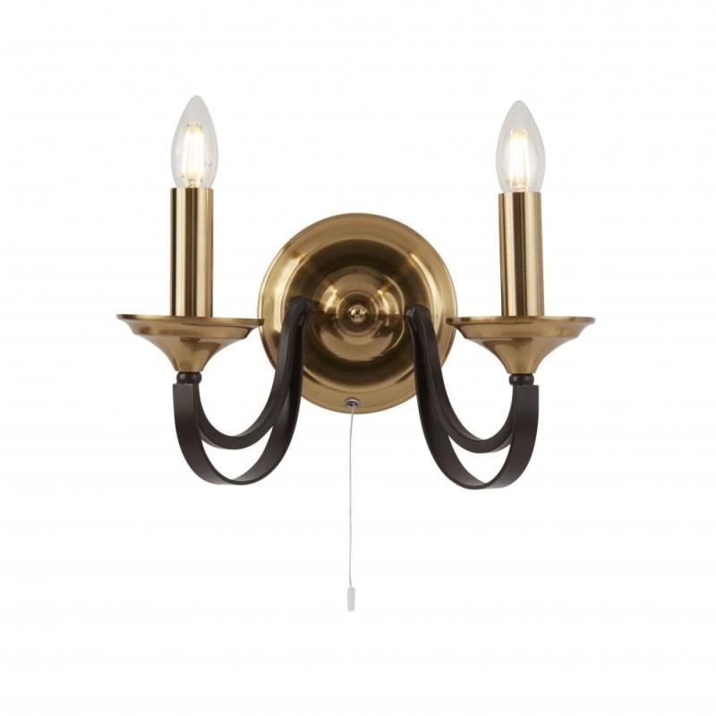 Searchlight-1842-2BZ - Belfry - Antique Gold with Dark Bronze 2 Light Wall Lamp