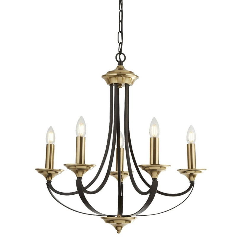 Searchlight-1845-5BZ - Belfry - Antique Gold with Dark Bronze 5 Light Centre Fitting
