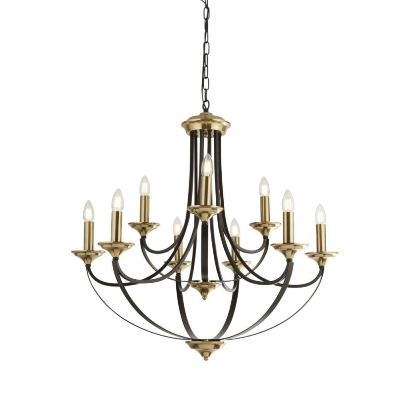 Searchlight-1849-9BZ - Belfry - Antique Gold with Dark Bronze 9 Light Centre Fitting
