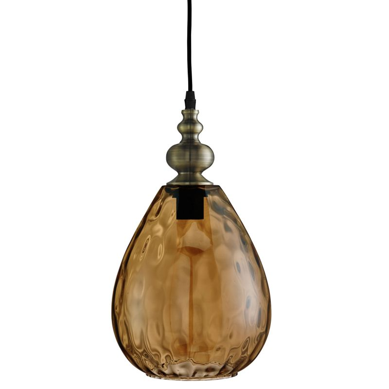 Searchlight-2019AM - Indiana - Texture Amber Glass with Antique Brass Single Pendant