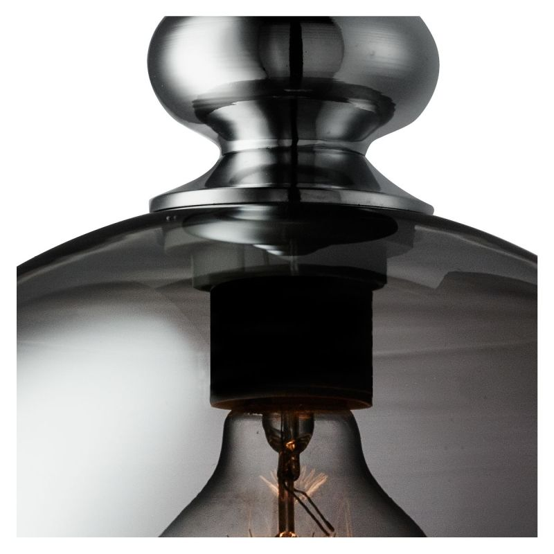Searchlight-2020SM - Indiana - Smoky Glass with Chrome Single Pendant