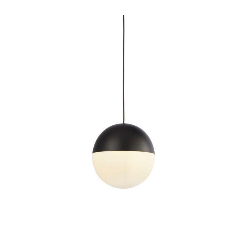 Searchlight-24181BK - Endor - White Glass & Matt Black Single Pendant