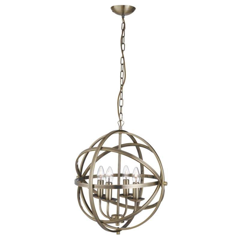 Searchlight-2474-4AB - Orbit - Antique Brass 4 Light Spherical Cage Pendant